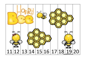 Honey Bees themed 11-20 Number Sequence Puzzle Game. Printable Preschool