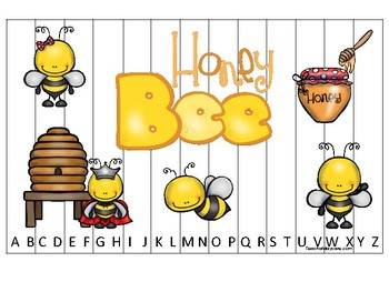 Honey Bees themed Alphabet Sequence Puzzle Game. Printable Preschool Gam