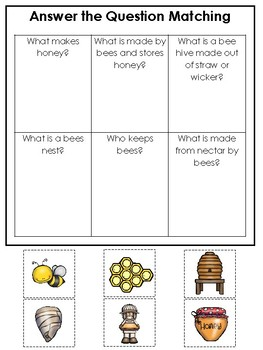 Honey Bees themed Answer the Question Game.  Printable Preschool Game