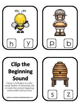 Honey Bees themed Beginning Sounds Clip It Game.Printable Preschool Game