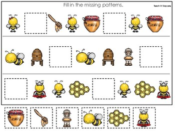 Honey Bees themed Fill In the Missing Pattern Game. Printable Preschool