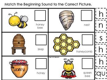 Honey Bees themed Match the Beginning Sound Game. Printable Preschool Ga