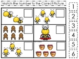 Honey Bees themed Match the Number Game. Printable Preschool Ga