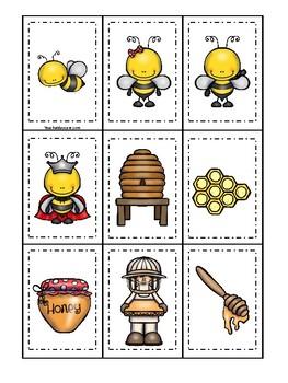 Honey Bees themed Memory Match Game. Printable Preschool Game