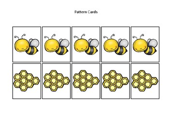 Honey Bees themed Pattern Cards and Game Board. Printable Preschool Game