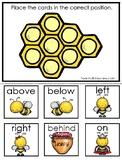 Honey Bees themed Positional Word Game. Printable Preschool Game