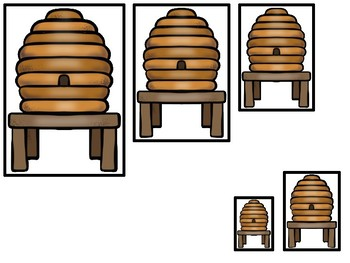 Honey Bees themed Size Sequence. Printable Preschool Game