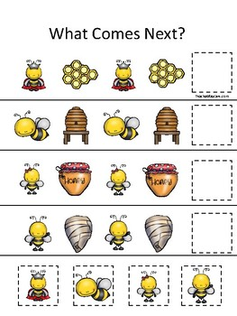 Honey Bees themed What Comes Next. Printable Preschool Game