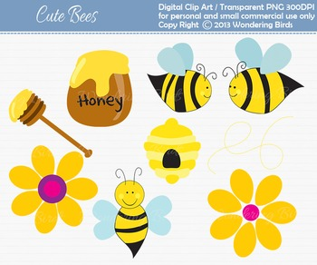 Honey bee clip art - set of 9 clip arts