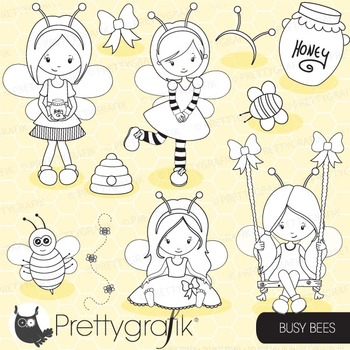 Honey bee stamps commercial use, vector graphics, images - DS671