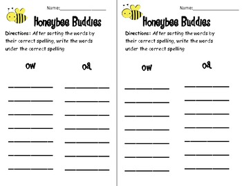 Honeybee Buddies ow and oa Activity pack