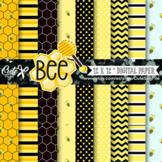 Honeybee Digital Patterns, Bee Papers, Hive, scrapbook pap