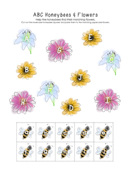 Honeybee & Flower ABC Match (Letters A-J)