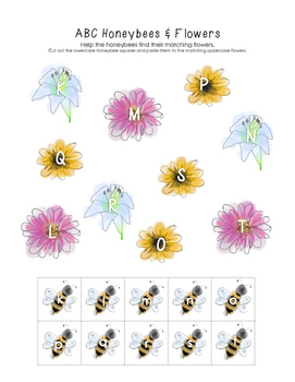 Honeybee and Flower ABC Match (Letters K-T)