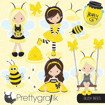 Honeybee clipart commercial use, vector graphics, digital - CL671