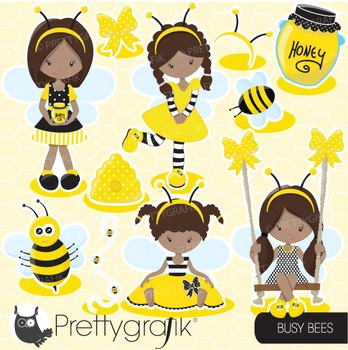 Honeybee clipart commercial use, vector graphics, digital - CL673