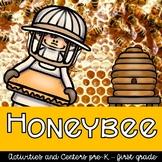 Honeybees Unit, centers, research, crafts, printables, worksheets, preschool/1st