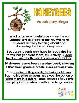 Honeybees Vocabulary Bingo