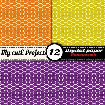 """Honeycomb DIGITAL PAPER - Scrapbooking - A4 & 12x12""""- Orange honeycomb..."""