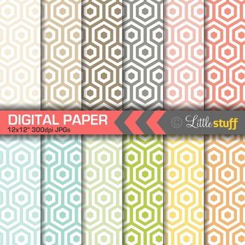 Honeycomb Digital Paper Pack, Honeycomb Pattern Digital Backgrounds
