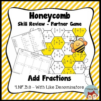 Honeycomb Partner Game- Add Like Fractions Review - 4.NF.B.3 - Test Prep