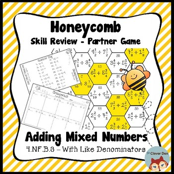 Honeycomb Partner Game- Add Mixed Numbers Review - 4.NF.B.3 - Test Prep