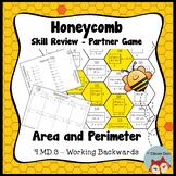Honeycomb Partner Game - Area & Perimeter Working Backwards Review - Test Prep
