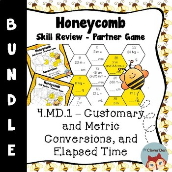 Honeycomb Partner Game- BUNDLE Customary Metric Conversions and Elapsed Time