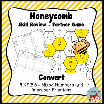 Honeycomb Partner Game- Convert Mixed Numbers & Improper Fractions - Test Prep