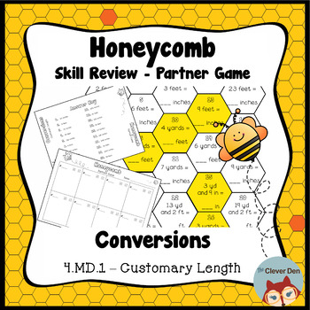 Honeycomb Partner Game- Customary Length Conversions - 4.MD.1 - Test Prep