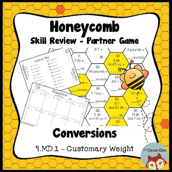 Honeycomb Partner Game- Customary Weight Conversions - 4.MD.1 - Test Prep
