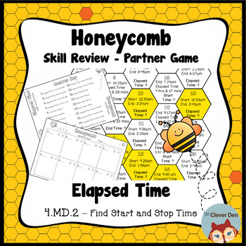 Honeycomb Partner Game- Elapsed Time Review - 4.MD.2 - Test Prep