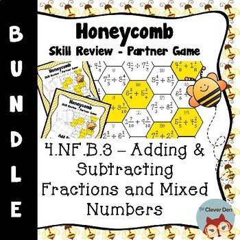 Honeycomb Partner Game- Fraction & Mixed Number BUNDLE - 4.NF.B.3 - Test Prep