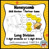 Honeycomb Partner Game- Long Division 3 by 1 Review - 4.NBT.B.6 - Test Prep