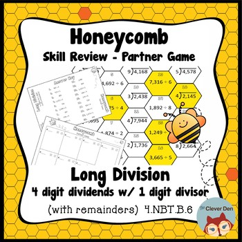Honeycomb Partner Game- Long Division 4 by 1 Review - 4.NBT.B.6 - Test Prep
