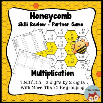 Honeycomb Partner Game- Multiplication (2 digits x 2 digits) - 4.NBT.5