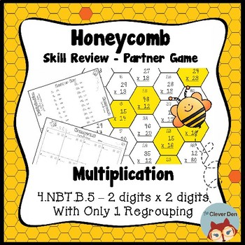 Honeycomb Partner Game- Multiplication 2 x 2 - Only 1 regrouping - 4.NBT.5