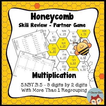 Honeycomb Partner Game- Multiplication (3 x 2) More than 1 regrouping