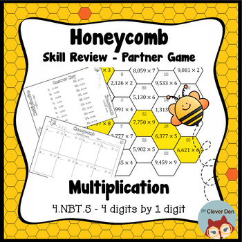 Honeycomb Partner Game- Multiplication 4 x 1 Review - 4.NBT.5 - Test Prep