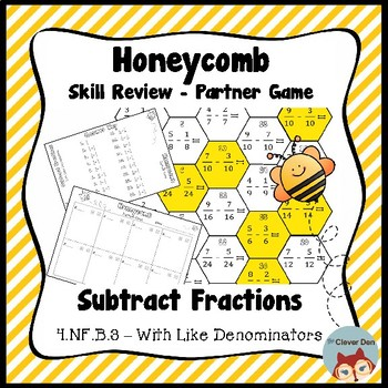 Honeycomb Partner Game- Subtract Like Fractions Review - 4.NF.B.3 - Test Prep