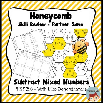 Honeycomb Partner Game- Subtract Mixed Numbers Review - 4.NF.B.3 - Test Prep