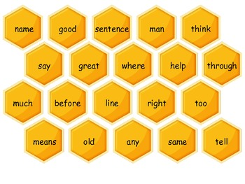 Honeycomb Sight Words - Dr. Fry Second 100 Sight Words Board Game