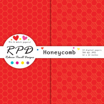 Honeycomb hexagons pattern bright rainbow colours digital paper set/ backgrounds