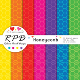 Honeycomb hexagons pattern bright rainbow colours digital