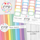Honeycomb hexagons pattern pastel colours & white digital paper set/ backgrounds