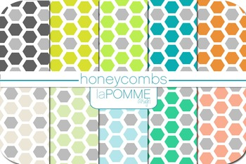 Honeycombs Hexagon Geometric Gray Patterned Digital Paper Pack