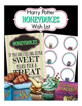 Honeydukes Classroom Wish List (Harry Potter, Hogwarts Themed)
