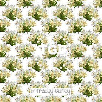 Honeysuckle on White digital paper Printable Tracey Gurley