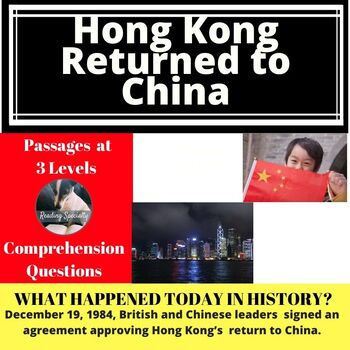 Hong Kong Returned from Britain to China Differentiated Reading Passage Dec. 19