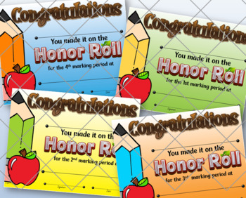Honor/High Honor Roll Certificates Set